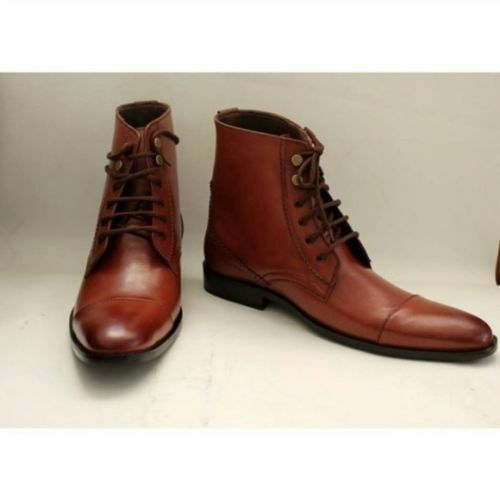 MEN NEW HANDMADE GENUINE LEATHER BROWN ANKLE HIGH CASUAL FORMAL BOOTS