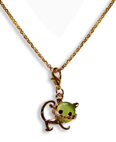 Edelstahl Halskette 40-75cm mit Charm Anhänger Katze 2,0 x 1,9cm 688e