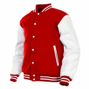Varsity-Jacket-Men-039-s-Real-Leather-Arms-Wool-Blend-Body-Baseball-Letterman-Casual