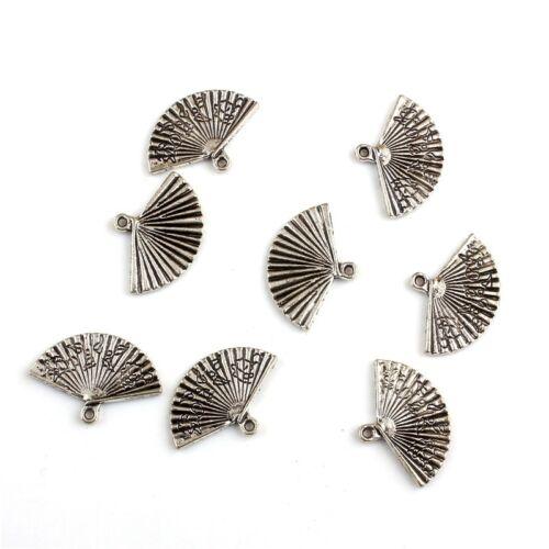 10PCS CHINESE FAN Tibetan Silver 3D Charms Pendants DIY Jewelry Making 13*24mm