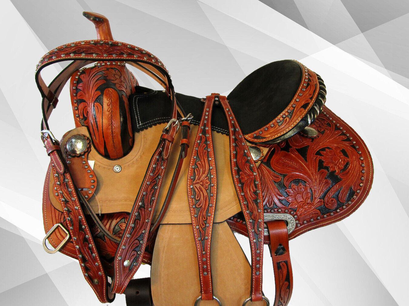 Silla de montar  de cuero grabado a mano por enCochego mostrar barril Racing Trail placer 15 16  tiendas minoristas