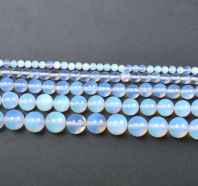 "16"" White Opal Gemstone Natural Gemstone Round Beads 4MM 6MM 8MM 10MM 12MM #4"