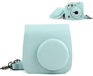 Para-Fujifilm-Instax-Mini-8-9-comprimidos-Fuji-Camara-Bolsa-Bolso-De-Hombro-Azul-Hielo-Carcasa