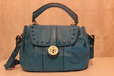 Karen Millen Studded Baby Turnlock Leather Small Box Hand Bag Blue £250