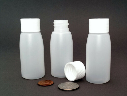 BPA-free HDPE NOT squeezable 1oz // 30ml 10 Mini Rigid Plastic Bottles
