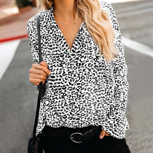 Women Buttons V Neck Leopard Print Shirt Tops Loose Elegant Ladies Blouse Plus