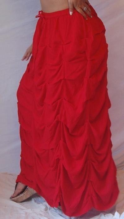 Red skirt maxi elastic M L 1X 2X waist multiple seam scallops texture zy549