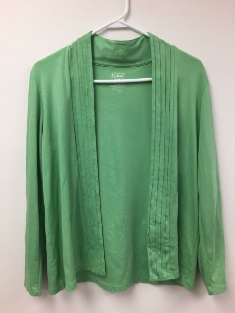 LL Bean Cardigan 100% Supima Cotton Small-Petite Pre-owned Top Sweater Button
