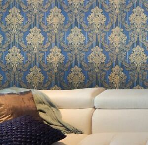 Vintage style paper Wallpaper roll wall covering damask stripes grey textured 3D
