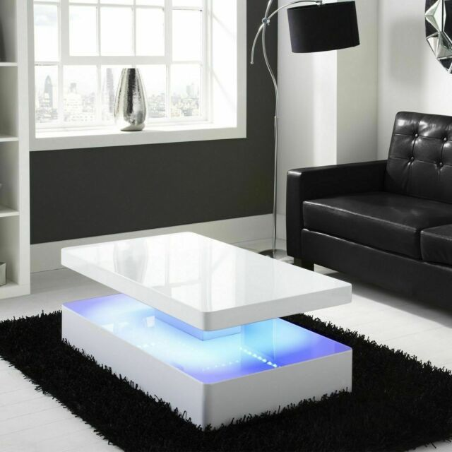 Tiffany Tiff007 High Gloss Rectangular Coffee Table With Led Light White