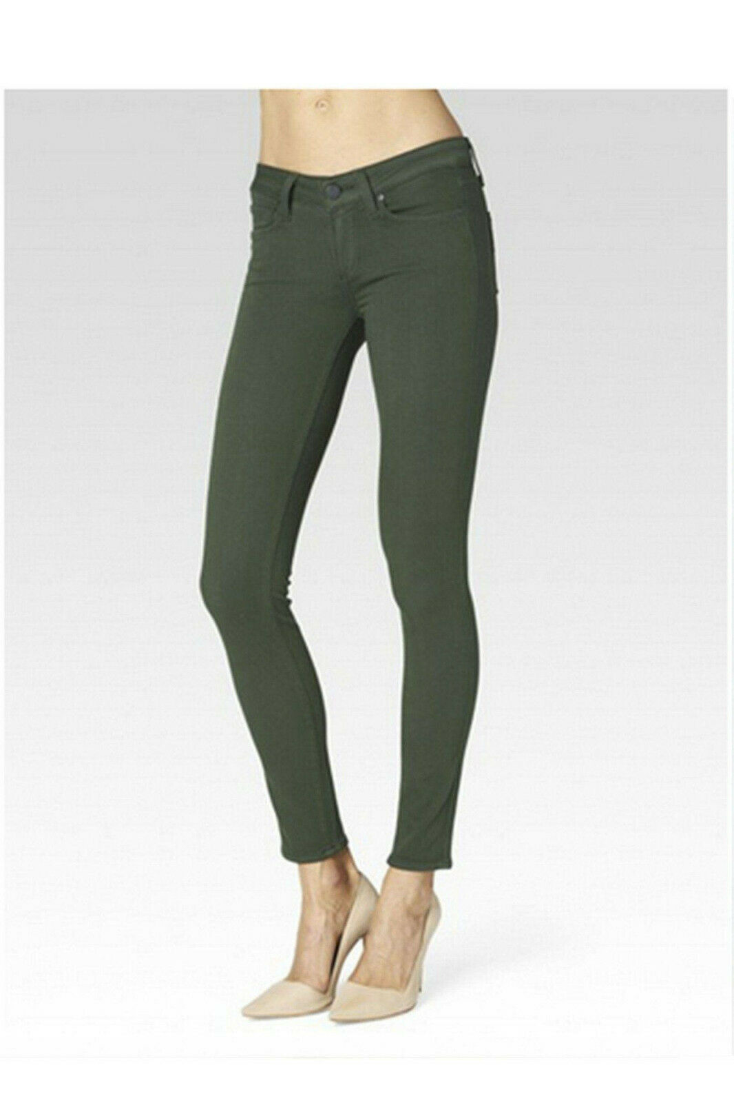 Paige Transcend Verdugo Ankle Ultra Skinny Stretch Jeans Army Green 25 NEW
