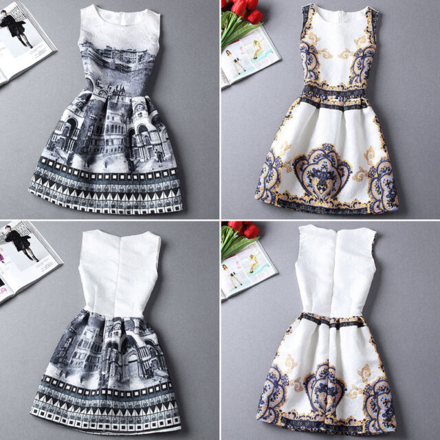 Fashion Printing Women's Sleeveless Bodycon Casual Party Evening Cocktail Dress