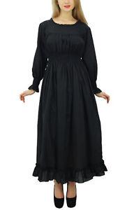 schwarzer Baumwolle Smok Taille lang Maxi Kleid Boho Chic ...