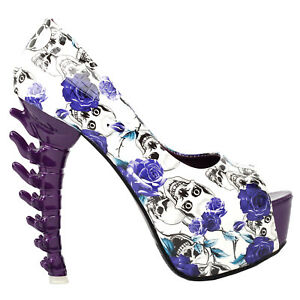 Purple-Skull-Rose-Peeptoe-Platform-Bone-Heel-Club-Pumps-Au-Size-4-5-6-7-8-9-10