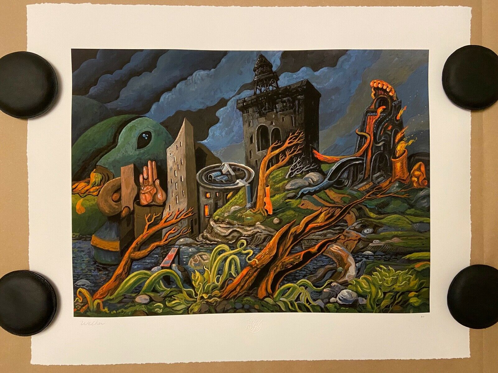 Outskirts of Town AP by David Welker Signed Embossed Giclee Art Print on eBay thumbnail