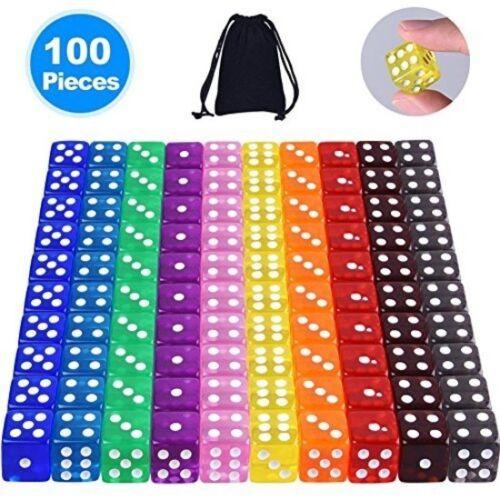 Confezione da 100 Dado a 6 Set 5 x 10 colori perla tabella GIOCHI di casinò Adulti Bambini