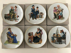 Vintage-1984-Lot-of-6-Norman-Rockwell-Museum-Knowles-6-1-2-034-Collector-Plates