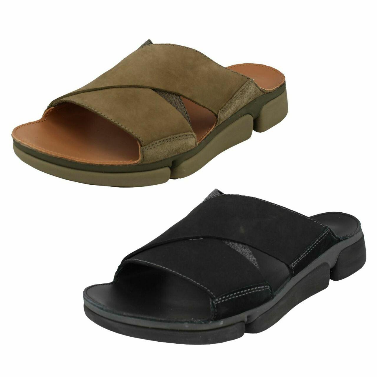 Clarks Mens Flip Flop Sandals TRI COVE CROSS Black / Olive Combination