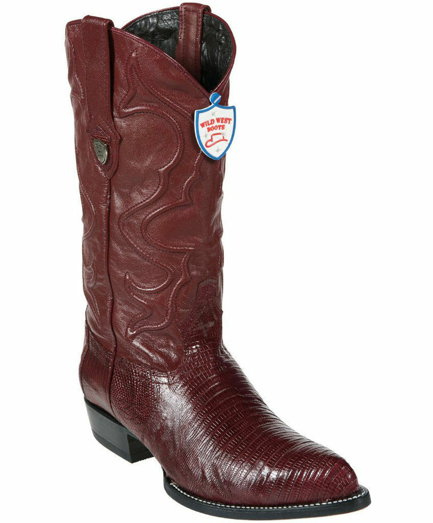 Wild West Burgundy Genuine Teju Lizard Western Cowboy Boot J-TOE