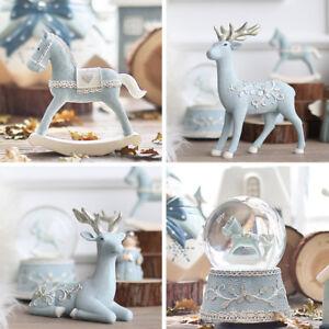 CHRISTMAS-DECOR-Reindeer-Elk-Figurine-Musical-Rocking-Horse-Snowglobe