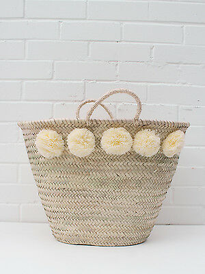 Large Cream Pom Pom French Market Beach Basket White Tote Shopper Bag Moroccan