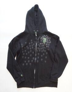 Monster-Energy-Drink-Mens-Small-Hoodie-Sweatshirt-Full-Zip-Hooded-Black