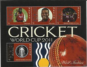 NEVIS-2011-ICC-CRICKET-WORLD-CUP-WEST-INDIES-TEAM-CHRIS-GAYLE-4v-Sheet-MNH