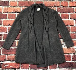 Braided collar Neiman Marcus 100% Cashmere Gray Cardigan sweater raw hem Medium