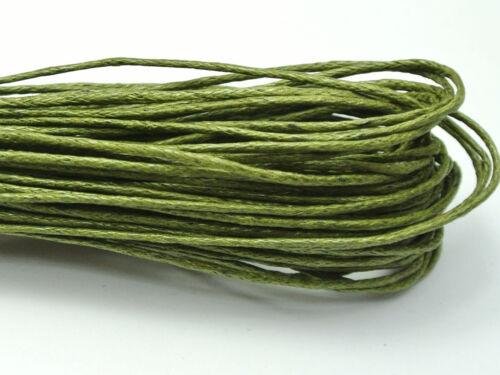 100 M Vert Olive Ciré Coton Beading Cord 1 mm POUR BRACELET COLLIER