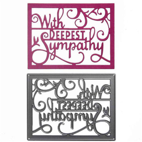 With Deepest Sympathy Metal Cutting Die For DIY Scrapbooking Album Paper Card A*