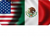 Usa / Mexico Flags Photo License Plate