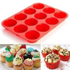 12 Cup Non Stick Silicone Muffin Pan Bakeware Cupcake Baking Pan Cookie Tray JJ