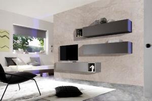 Cube evolution 2 grigio opaco e grigio artico parete soggiorno tv