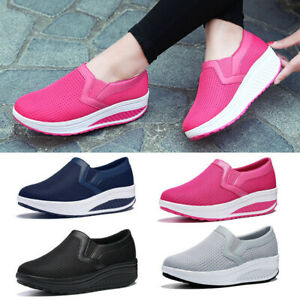 Women-Wedge-Shoes-Platform-Sneakers-Casual-Loafers-Slip-On-Mesh-Breathable-Size