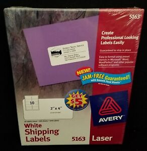 avery 5163 shipping labels jam free laser 2 x 4 white 1000 in box