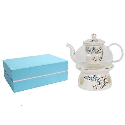 Ornami Fine Bone China Teapot Set With, China Teapot With Warmer