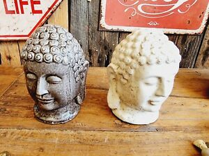 Edle Buddha Büste 14cm Keramik Feng Shui Yoga Kopf Schwer Deko Tisch Relax