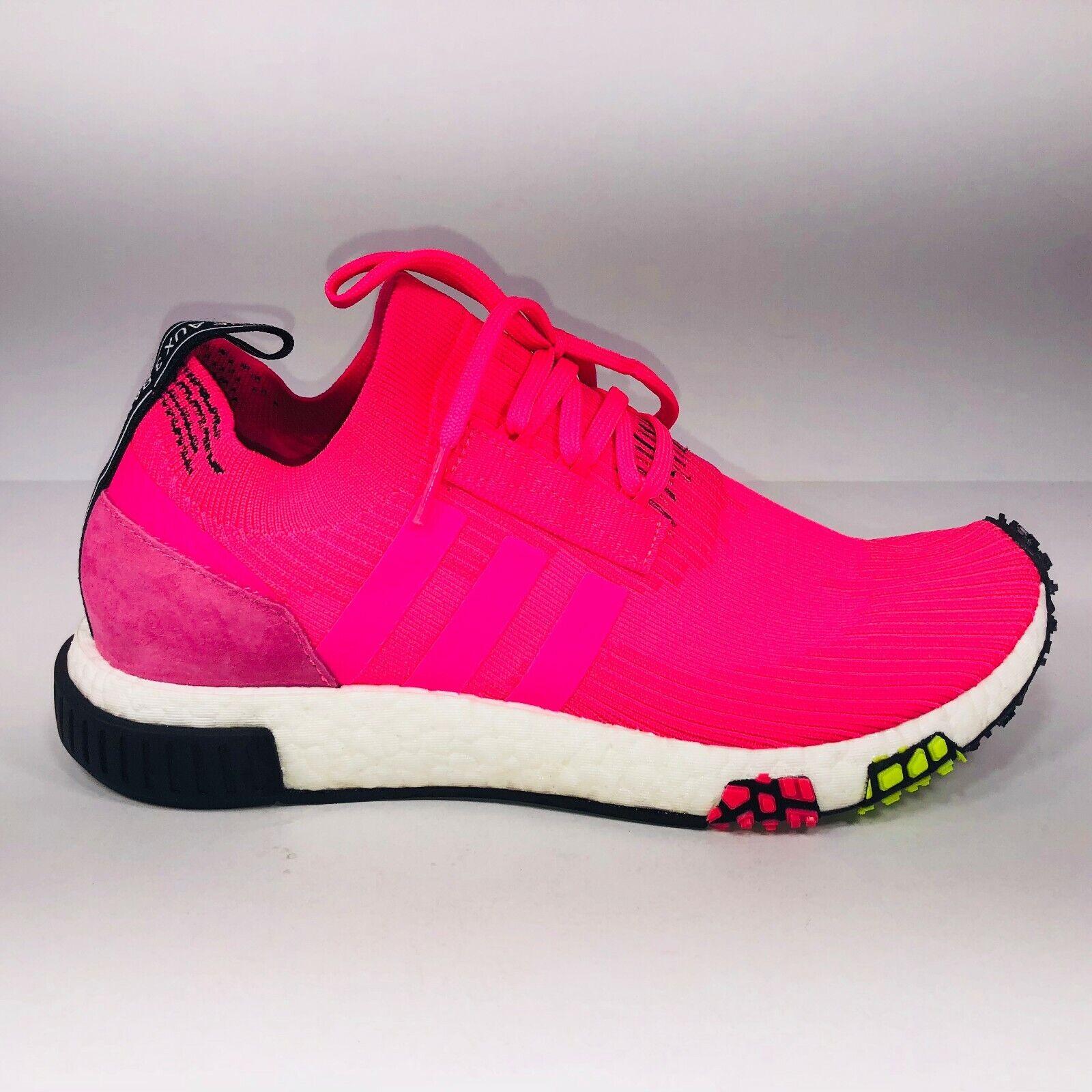 Adidas NMD_Racer Primeknit Solar Pink White Black Athletic Sneaker CQ2442 Size 9