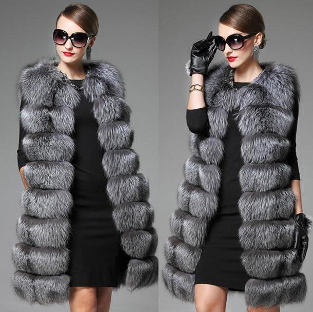 Señoras chaleco de  lujo abrigo Parka de Piel Cálido Abrigo Chaqueta para mujer Hip Longitud E824  marca de lujo