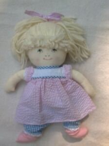 "11"" Bjonness ASLEEP AWAKE TWO FACED DOLL pink blue seersucker stuffed toy"