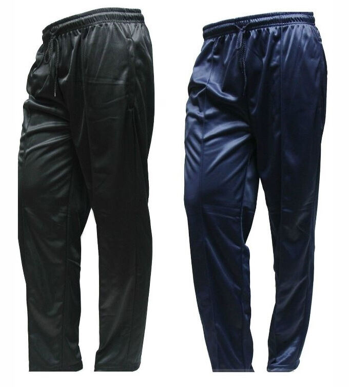 Mens Silky Plain Bottoms Trousers Pants Jogging Casual Sports Gym Black Navy
