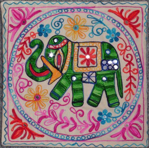 """Coton Naturel Arc-en-aari Stitch Miroir Elephant Design Housse De Coussin 17x17/"""""""