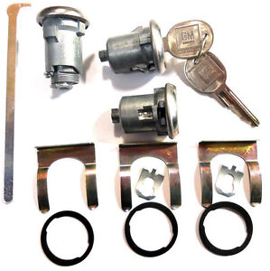 New-CHEVY-GM-OEM-Chrome-Doors-Trunk-Lock-Key-Cylinder-Set-With-Keys-To-Match