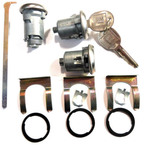 New CHEVY GM OEM Chrome Doors//Trunk Lock Key Cylinder Set With Keys To Match