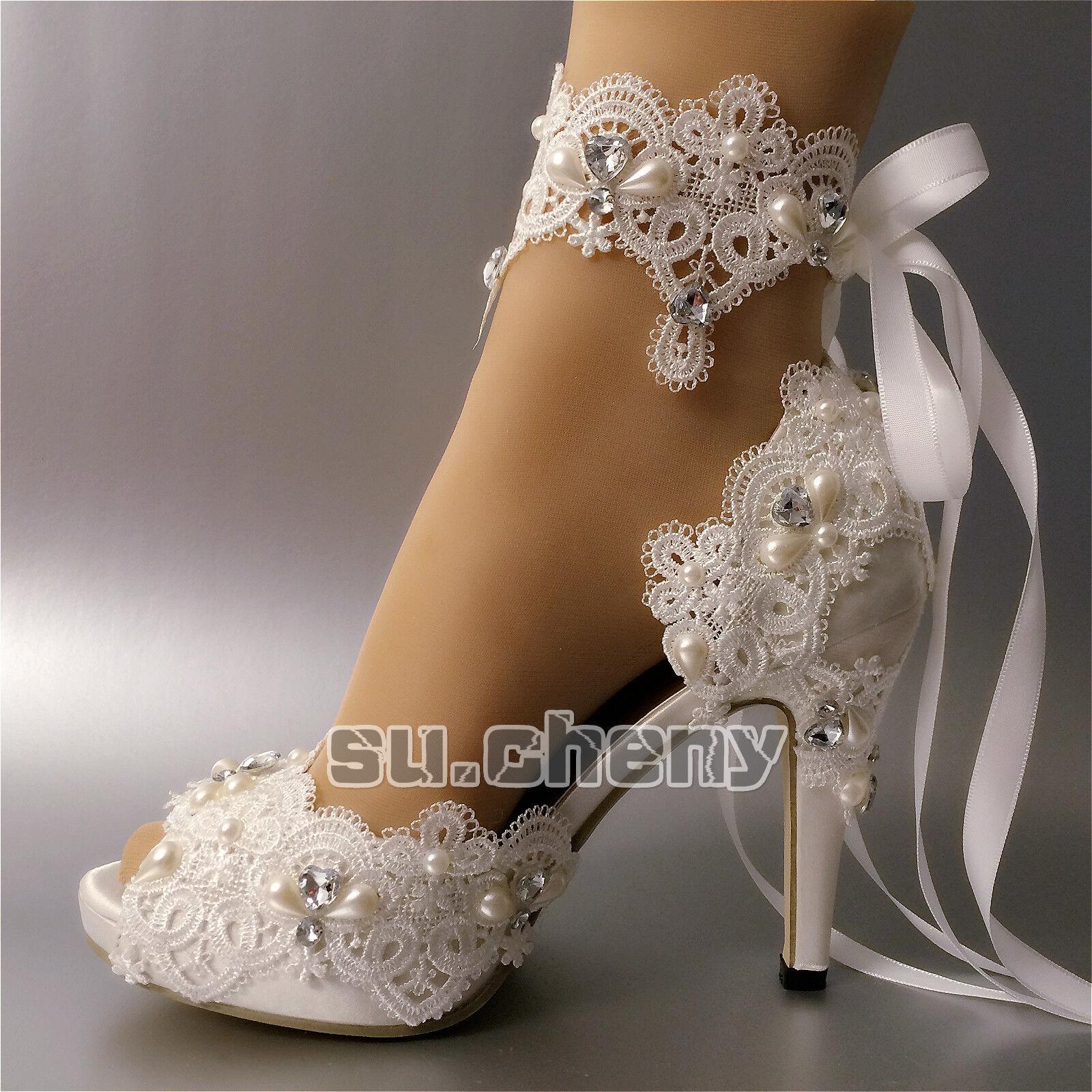 Su.cheny Weiß ivory satin rhinestone rhinestone rhinestone open toe ribbon ankle Wedding Bridal schuhe 893d0f