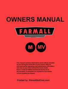 farmall m mv tractor operators manual ebay rh ebay com farmall m operator's manual pdf Farmall M Hydraulic Belly Pump
