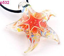 1pc Starfish star Murano Lampwork Glass Pendant beaded Necklace p532