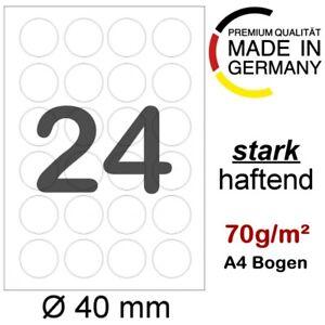 2400 runde Etiketten Ø 40 mm rund selbstklebend weiss auf 100 DIN A4 Blatt 5066