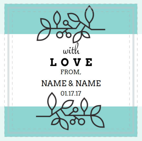 """12 WITH LOVE FROM LABEL PERSONALIZED WEDDING Floral Sticker Square White 2/"""" x 2/"""""""