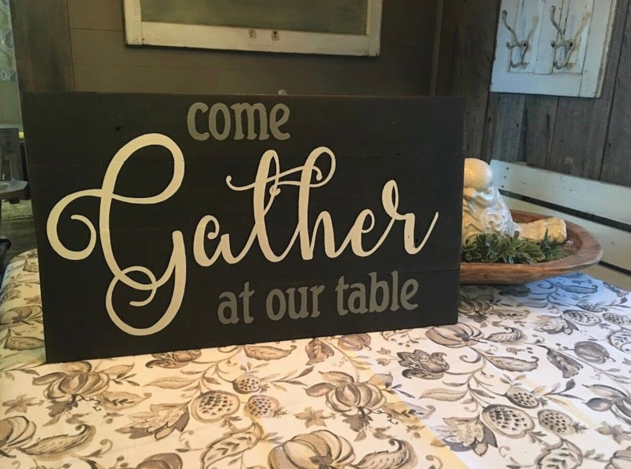 Come Gather at our Table hand painted distressed pallet board style sign